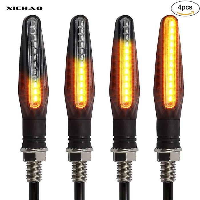 XICHAO - moto Indicateurs 4 PCS Circulation Lumières Clignotant Motocyclette Indicateurs 12V 12 LED Ampoules