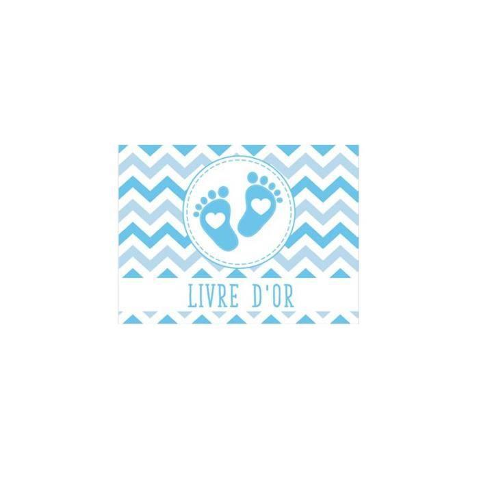 Livre D Or Baby Shower Garcon Petits Pieds 21x16cm Bleu