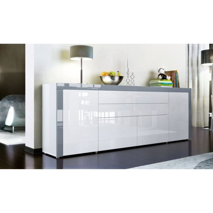 buffet enfilade blanc au contour gris 200 cm achat vente buffet bahut buffet enfilade. Black Bedroom Furniture Sets. Home Design Ideas