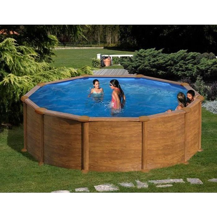 kit piscine hors sol mauritius ronde en acier aspect bois 4 60 x 1 32 m achat vente. Black Bedroom Furniture Sets. Home Design Ideas