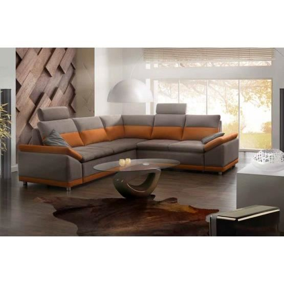 canap convertible marcello orange gris droit achat vente canap sofa divan polyur thane. Black Bedroom Furniture Sets. Home Design Ideas