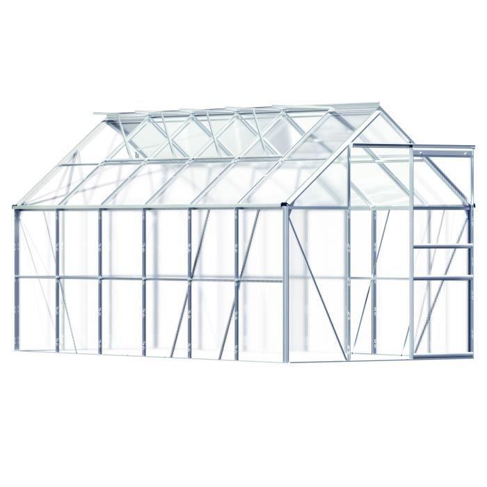 SERRE DE JARDINAGE Serre de jardin en Aluminium 11,73m³ incl. 4 Fenêt