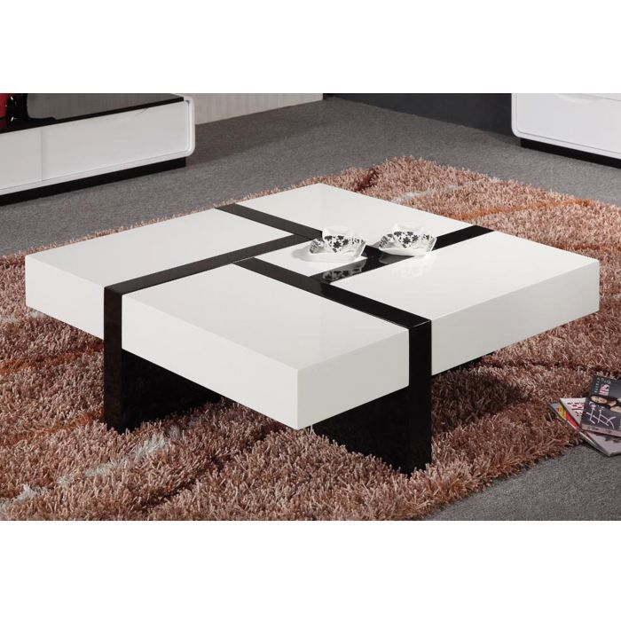 Table basse design noir blancavec quatre tiroirs achat vente table basse - Table basse carree design ...