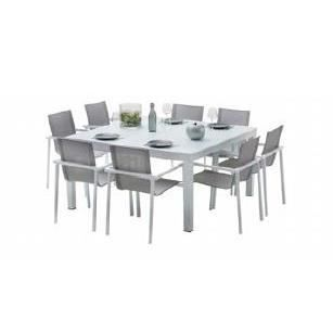 Ensemble de jardin carr 8 places whitestar achat for Table jardin 8 personnes
