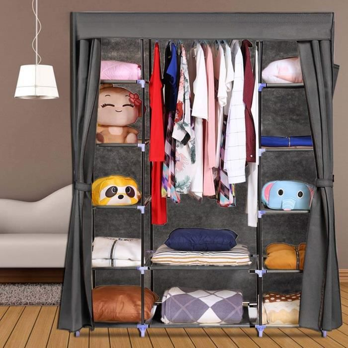homdox armoire rangement v tement portable stockage placard organisateur v tements garde robe. Black Bedroom Furniture Sets. Home Design Ideas