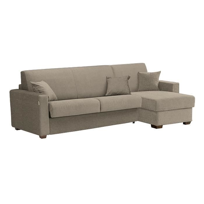 canap lit d 39 angle milano tissu taupe 140x190 achat vente canap sofa divan tissu. Black Bedroom Furniture Sets. Home Design Ideas