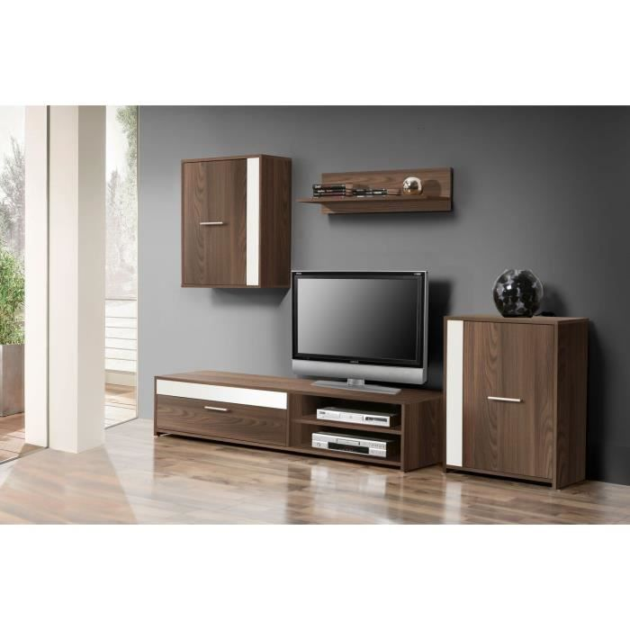 meuble tv blanc et bois wenge. Black Bedroom Furniture Sets. Home Design Ideas