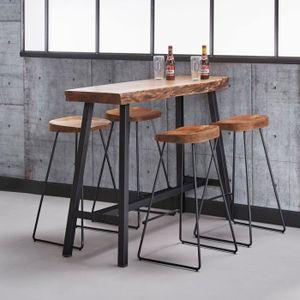 acacia 125x46x92 massif Table cm de bar en thdrxCBsQ