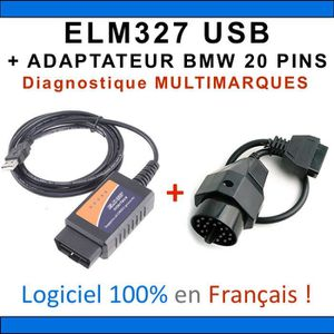 OUTIL DE DIAGNOSTIC Interface ELM327 USB + ADAPTATEUR BMW 20 PINS - Va
