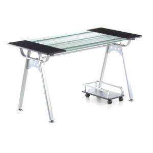 BUREAU  Table informatique ORION, graphite / verre/ arg…