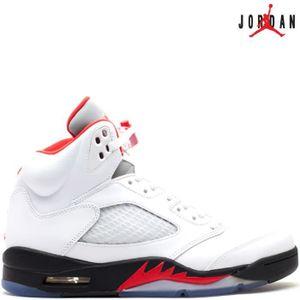 BASKET Nike Air Jordan 5 Retro V FIRE RED 136027-100 Whit
