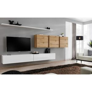 MEUBLE TV Meuble TV mural SWITCH VII design, coloris blanc b