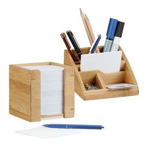 Schreibtisch Organizer Schublade Büro Briefablage Weiß Bambus Notizzettel Fächer