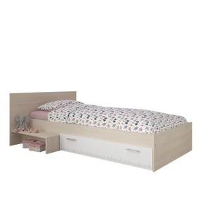LIT COMBINE  Lit enfant 90 x 200 décor acacia et blanc tiroir -