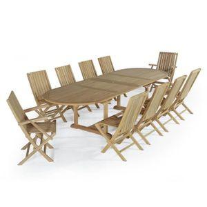 Ensemble table et chaise de jardin Salon de jardin en teck Ecograde Samora, table 1.9