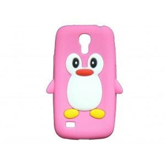 Coque silicone pour Samsung Galaxy S4 Mini / I9190 pingouin rose