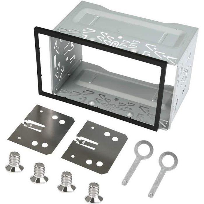 QLOUNI Cadre de Montage en Plastique en Fer, Cadre en métal 2 DIN, Fente d'installation Kit de Garniture Radio pour autoradi 2715