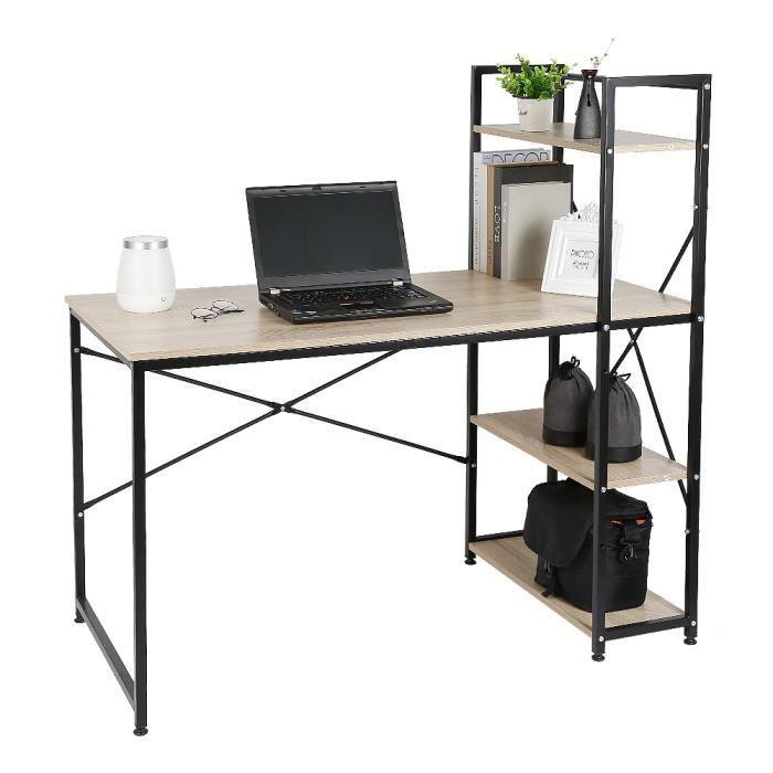 120 x 64 x 120 cm Bureau d'Ordinateur Contemporain Design Table de bureau en bois et acier, Noir et chêne clair