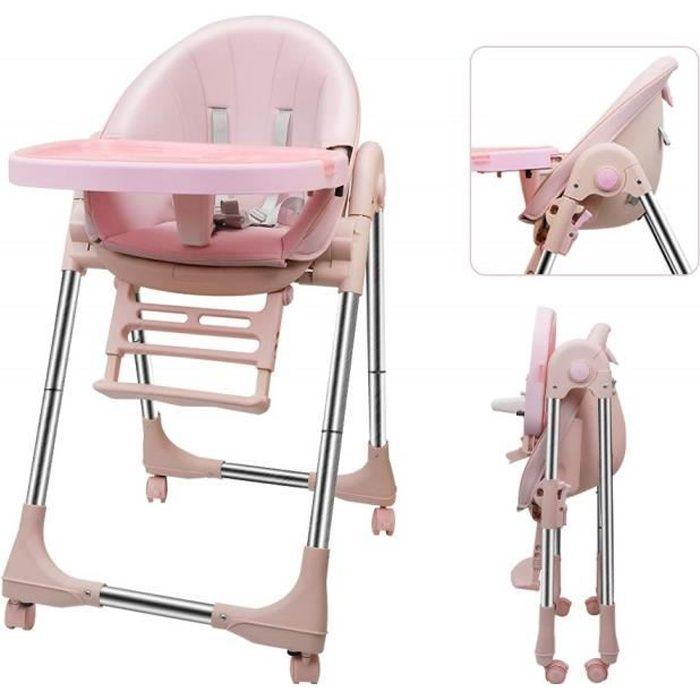 DOMICILE Chaise haute inclinable Réglable et Pliable - Avec ceinture de sécurité rose