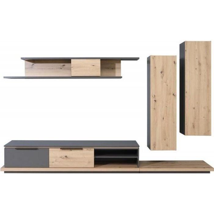 Ensemble meubles TV paroi murale en bois marron et gris - BELAIR