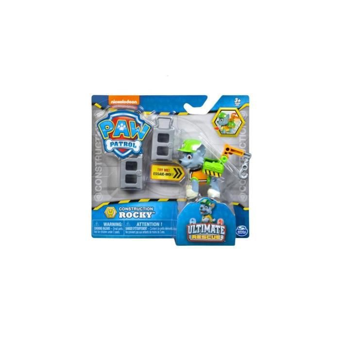 Pat Patrouille Ultimate Rescue construction : Chien Rocky Sac A Dos Transformable + 2 Blocs Beton - Figurine Animaux - Paw Patrol