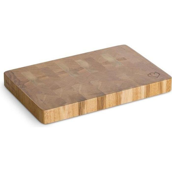 Planche à Découper en Chêne, Planche à Pain, Plateau en Bois véritable, Brun, 20 x 30 x 3 cm