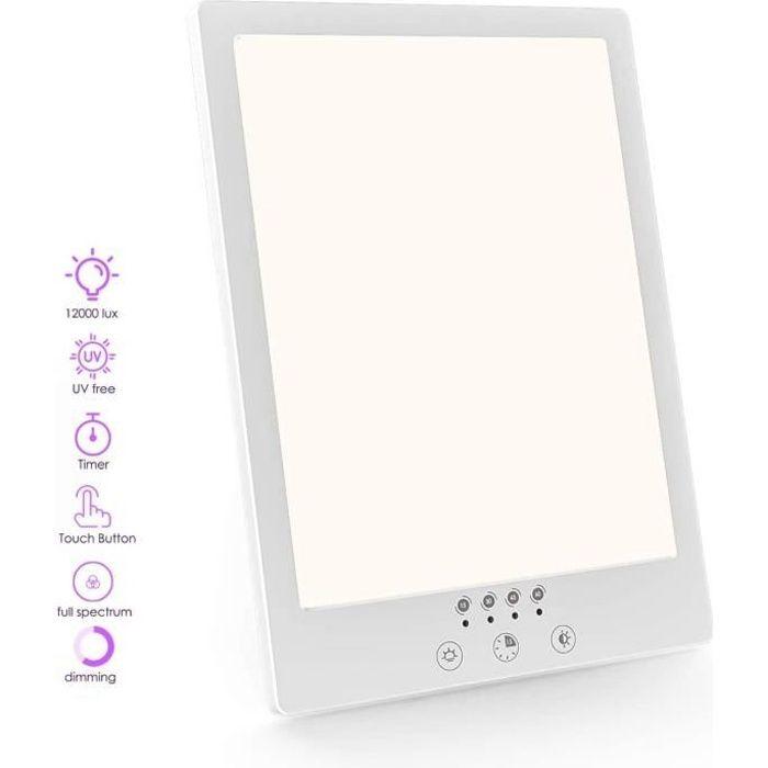 Lampe de Luminothérapie 12000 Lux, LED sans UV avec Luminosité et température de couleur Réglables,pour la maison ou le bureau