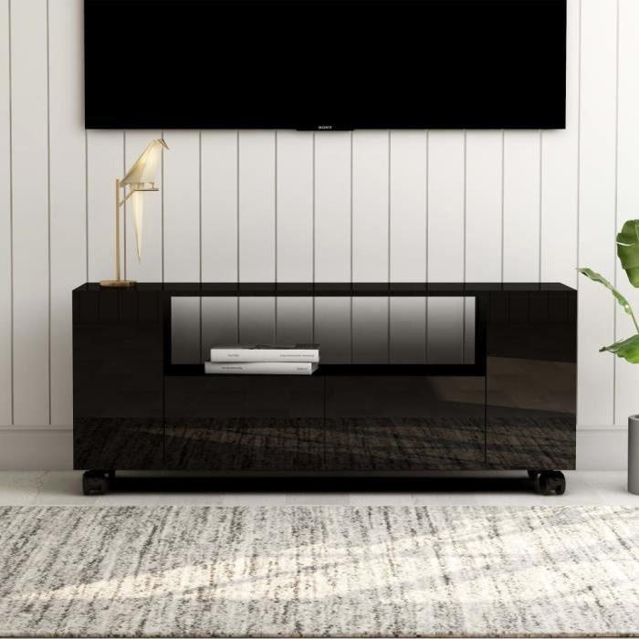 MEUBLE TV - MEUBLE HI-FI scandinave contemporain Noir brillant 120 x 35 x 43 cm Aggloméré