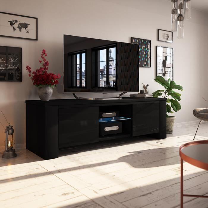 Meuble TV / Meuble salon - JACKSON - 130 cm - noir mat / noir brillant - avec LED - style moderne - tablette en verre