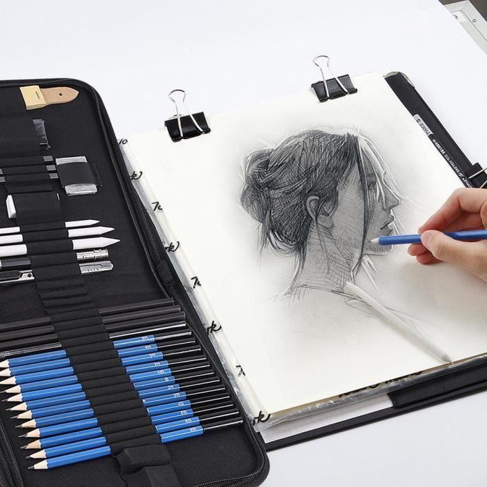 33Pcs Trousse À Crayons À Dessin Professionnelle Et Dessin Artistique H&B ABI