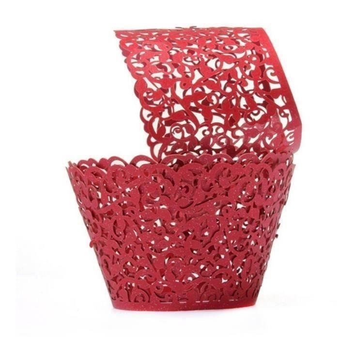 50Pcs Caissettes Cupcake en Papier Moules Décoratifs pour Gâteaux Muffins Motif de Vigne de Dentelle -Rouge Wir23