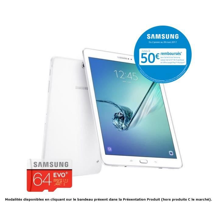 Pack SAMSUNG Galaxy Tab S2 + micro SD 64 Go offerte- 9,7'' QXGA Super AMOLED - Stockage 32 Go -Octo Core - Mémoire 3 Go