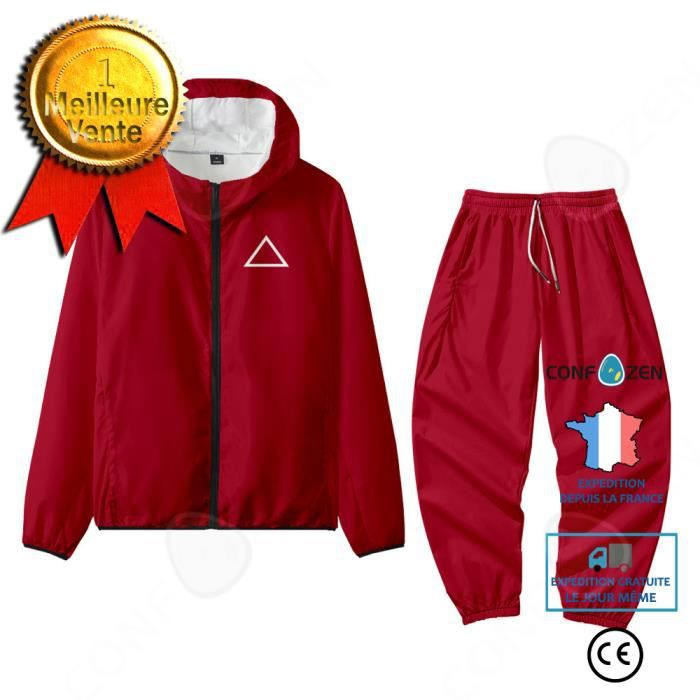 CONFO® Squid Game Squid Game Homme Maine Park Hae-soo Même Sportswear montant Zipper Sweat Triangle Rouge Sweat Sport Costume Décont