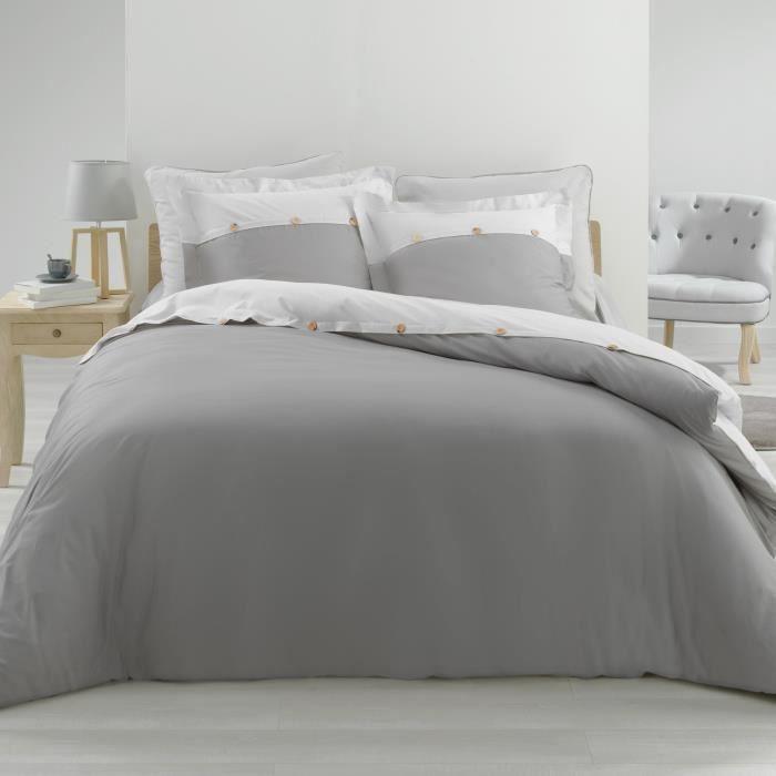 Ensemble en percale 78 fils parure 260x240 cm Vice versa gris + drap housse 160x200 cm Blanc