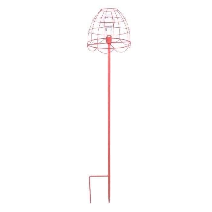 Esschert Design lampadaire pour bougie à chauffe-plat 25,2 x 137 cm rouge acier