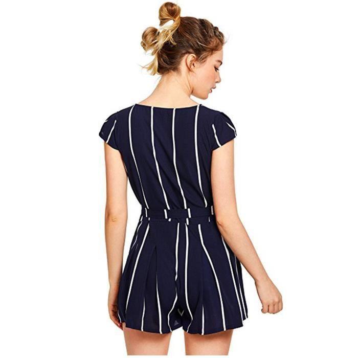 Combi-short rayé combinaison décontractée pour femmes Combi-short avec ceinture@Marine