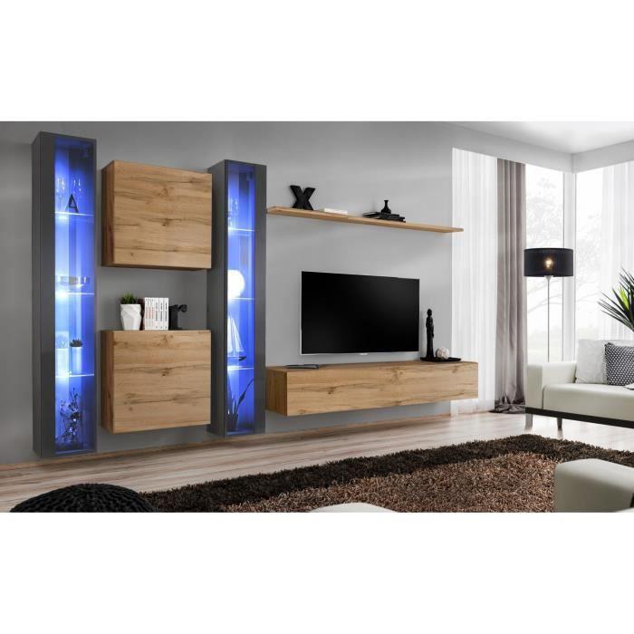 Ensemble meuble salon mural SWITCH XVI design, coloris chêne Wotan et gris brillant. 40 Marron