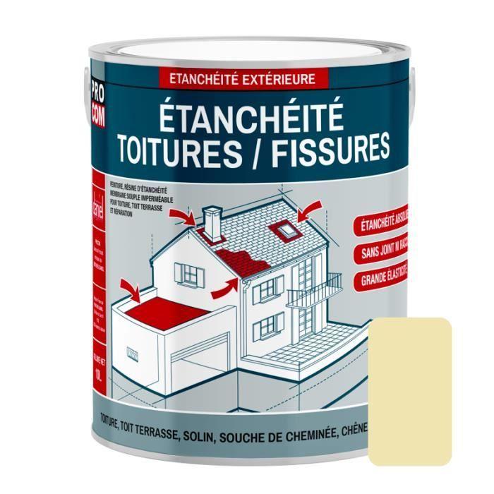 Peinture d'étanchéité pour toiture, réparation tuiles, fissures, anti-fuites, anti-mousse, décore et protège 2.5 litresSable 2,5