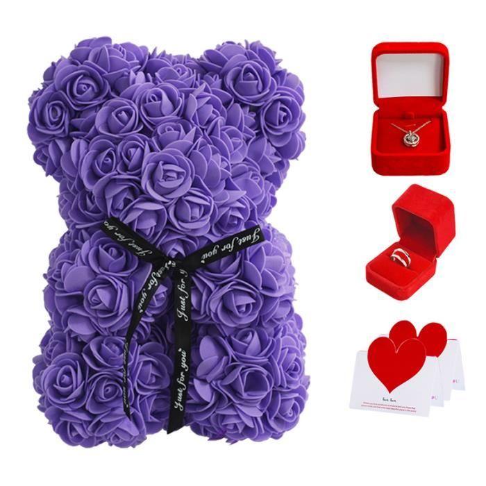 25 cm Ours de rose Coffret cadeau Saint-Valentin avec Collier de projection Bague Carte-Cadeau pour femme petite amie - VIOLET
