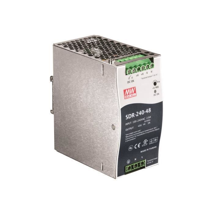 TRENDNET Module d'Alimentation Propriétaire TI-S24048 - 240 W - Rail DIN - 120 V AC, 230 V AC Entrée - 48 V DC Sortie - 94%