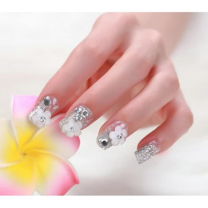 24pcs faux ongles pre d sign s avec fleur et rhinestone nail art d coration glitter gris. Black Bedroom Furniture Sets. Home Design Ideas