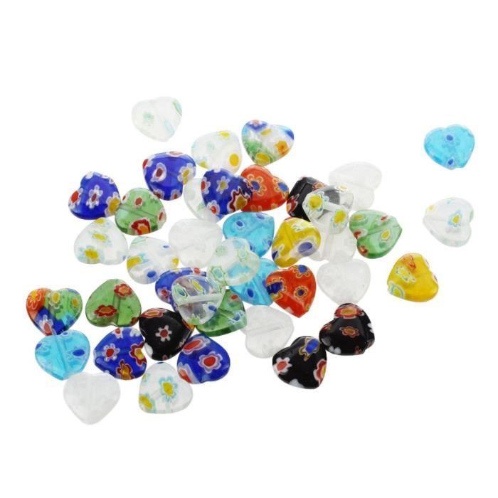 Lot 70 Perles verre millefiori mix formes tailles couleurs DIY création bijoux