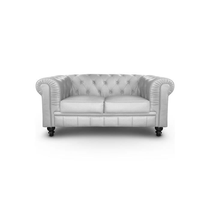 Canap chesterfield 2 places cuir pu argent achat vente canap sofa d - Chesterfield 2 places ...