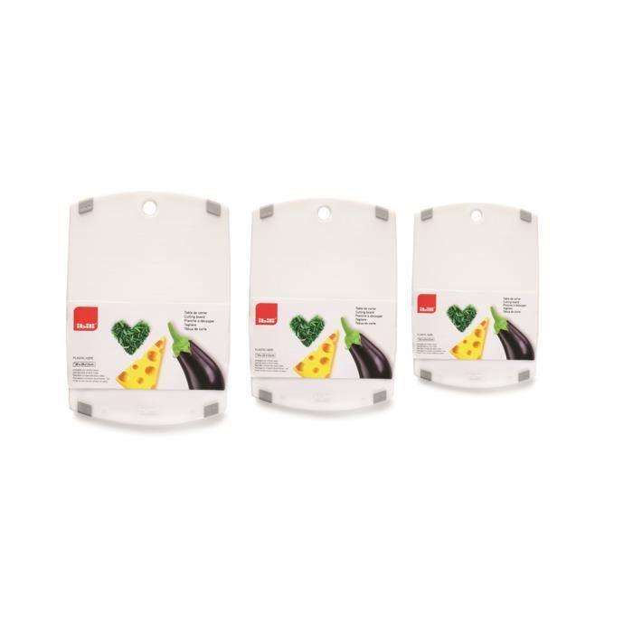 BOCHION Planches /à D/écouper en Plastique ABS Rainure de Jus,Alimentaires PP-Mat/ériel Set de 3 Antimicrobienne R/ésistante /à la Chaleur et Non-Toxique