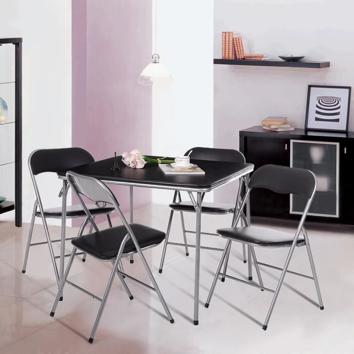Ikayaa 5pcs ensembles meubles m tallique pliante de salle for Chaise pour table a manger