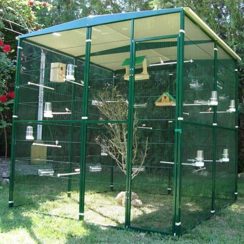 voliere de jardin 4m toit 2 pentes achat vente voli re cage oiseau voliere de jardin 4m. Black Bedroom Furniture Sets. Home Design Ideas