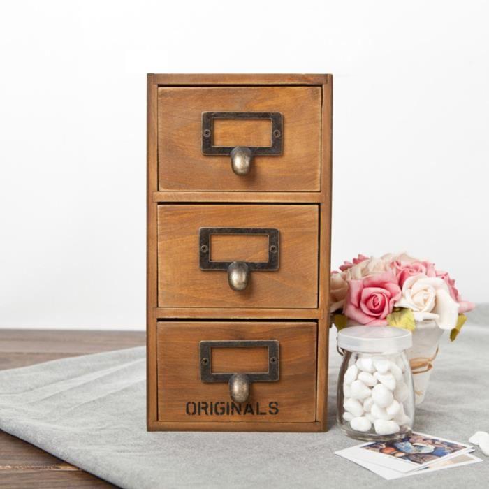 Boîte de rangement en bois 3 Tiroirs PETIT MEUBLE DE RANGEMENT - Jaune - Achat / Vente petit ...