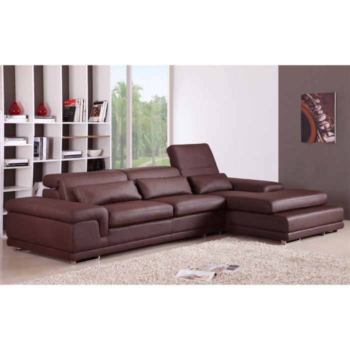 valencia canap d 39 angle droit cuir chocolat achat vente canap sofa divan cdiscount. Black Bedroom Furniture Sets. Home Design Ideas
