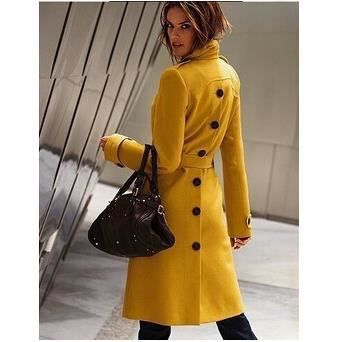 long manteau femme veste caban tendance jaune achat vente veste cdiscount. Black Bedroom Furniture Sets. Home Design Ideas