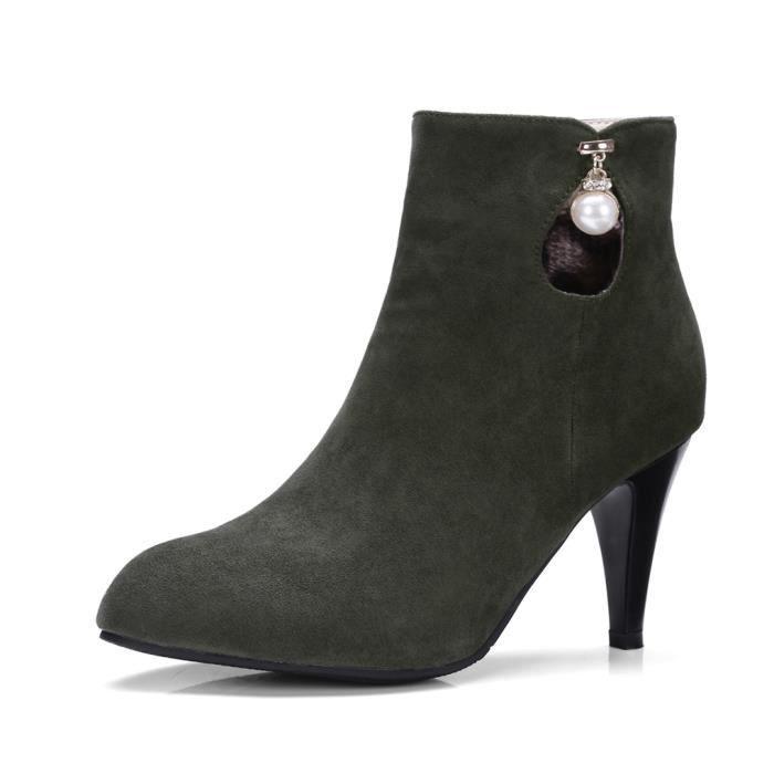 Oaleen mariage talons vert femme aiguille boots 41 chaussures hiver Bottines soirée perle fourrées WQrxeodCB